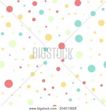 Colorful Polka Dots Seamless Pattern On Black 16 Background. Extraordinary Classic Colorful Polka Do