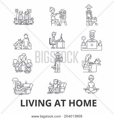 Living at home, help at home, living room furniture, living at home with parents line icons. Editable strokes. Flat design vector illustration symbol concept. Linear signs isolated on white background