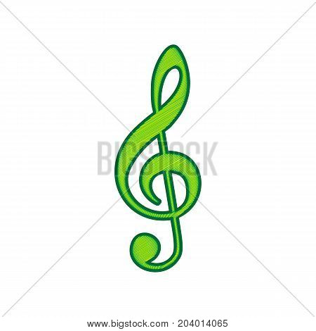 Music violin clef sign. G-clef. Treble clef. Vector. Lemon scribble icon on white background. Isolated