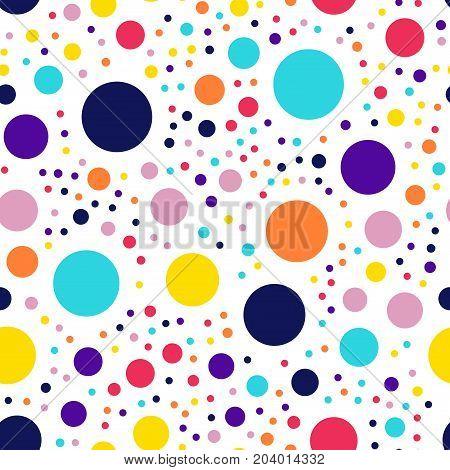 Memphis Style Polka Dots Seamless Pattern On White Background. Delightful Modern Memphis Polka Dots