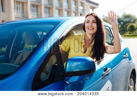 Warm greetings. Joyful attractive positive woman smiling and greeting her friend while driving a car
