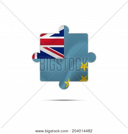 Isolated piece of puzzle with the Tuvalu flag. Vector illustration.