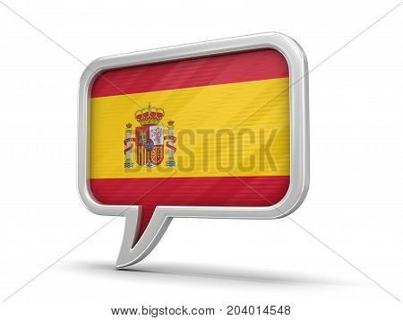 3d Illustration. Speech bubble with Spanish flag. Image with clipping path