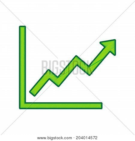 Growing bars graphic sign. Vector. Lemon scribble icon on white background. Isolated