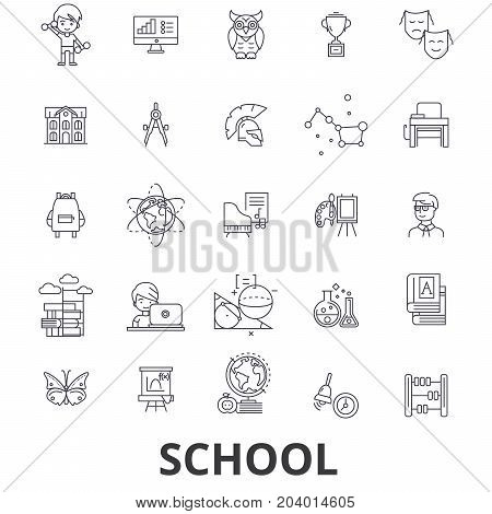 School, school building, education, classroom, pupil, school bus, school teacher line icons. Editable strokes. Flat design vector illustration symbol concept. Linear signs isolated on white background