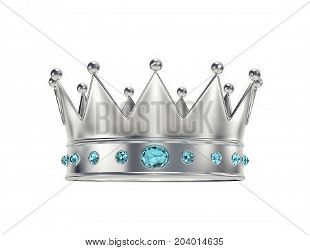 Platinum silver crown with blue gemstones isolated on white. 3D rendering with clipping path