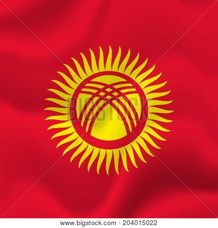 Kyrgyzstan waving flag. Waving flag. Vector illustration.