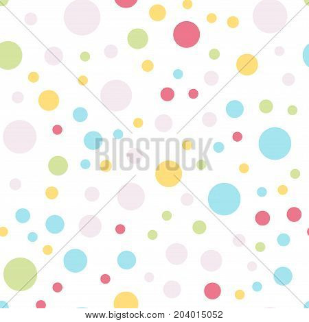 Colorful Polka Dots Seamless Pattern On White 4 Background. Symmetrical Classic Colorful Polka Dots