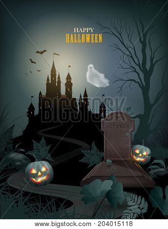 Halloween Party Invitation with castle silhouette on the hill against moonlight sky, pumpkin, flying Ghost, gravestone