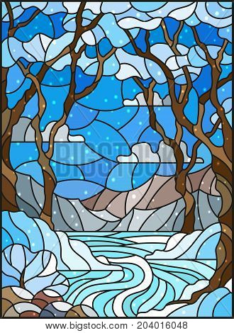 Illustration in stained glass style with a frozen Creek in the background of the sky snowy mountains trees and fields
