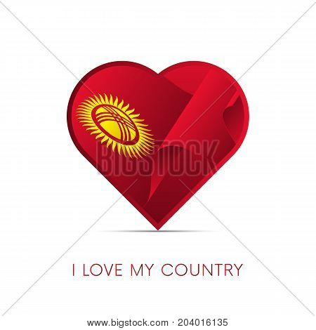 Kyrgyzstan flag in heart. I love my country. sign. Vector illustration.