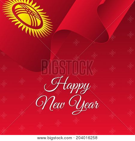 Happy New Year banner. Kyrgyzstan waving flag. Snowflakes background. Vector illustration.