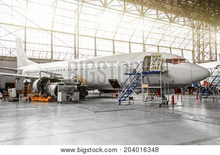 Aircraft In The Hangar In The Maintenance Of Plating, Interior, Engine Repair
