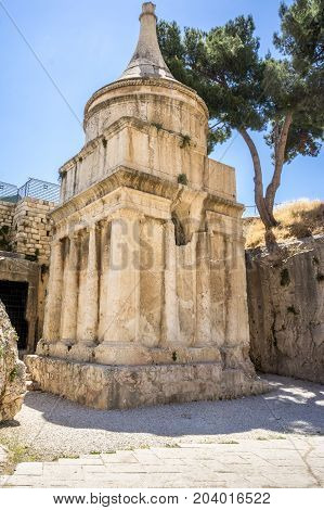 The Tomb of Absalom, Absalom's Pillar in Kidron Valley or King's Valley near the walls of the Old City of Jerusalem, Israel