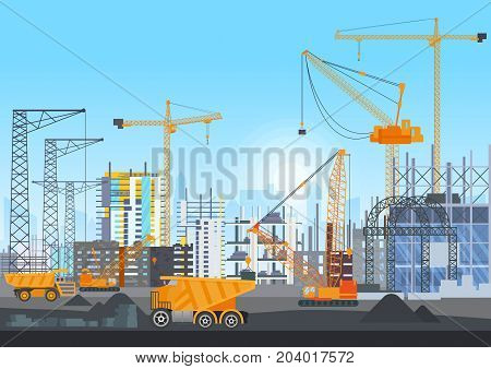 Building city under construction website with tower cranes. Building work process with houses and construction machines. Vector illustration