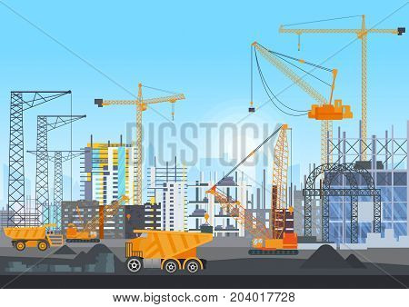City skyline buildings construction under construction with tower cranes. Building work process with houses and construction machines. Vector illustration