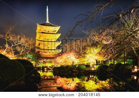 Toji temple by night with light up, Kyoto Japan