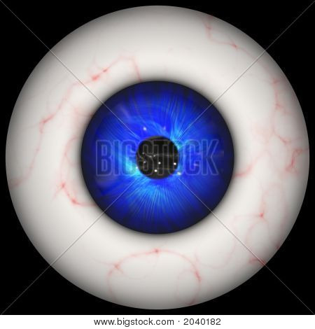 Computer generated illustration of bloodshot human eyeball poster