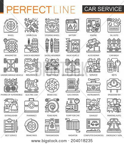 Car repair service outline mini concept symbols. Modern stroke linear style illustrations set. Perfect thin line icons