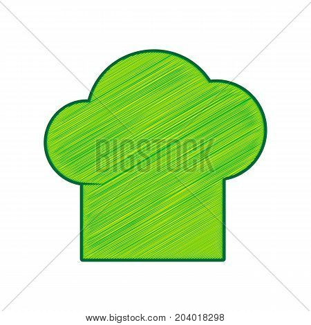 Chef cap sign. Vector. Lemon scribble icon on white background. Isolated