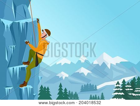 Rock Climbing man. Male on the ice rock. Winter extreme outdoor sports. Vector Illustration