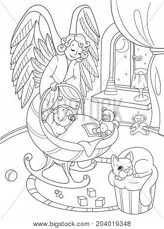 Cartoon, coloring book. The Guardian Angel protects the babys sleep. Interior of the childrens room. Vector illustration