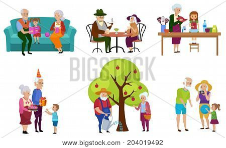 Set of isolated senior people and their grandchildren characters doing activities vector illustration