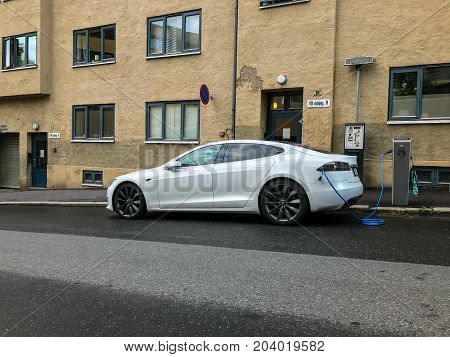 Oslo, Norway - 07 June 2017: Electric car charging station. Eco automobile that sparked a revolution