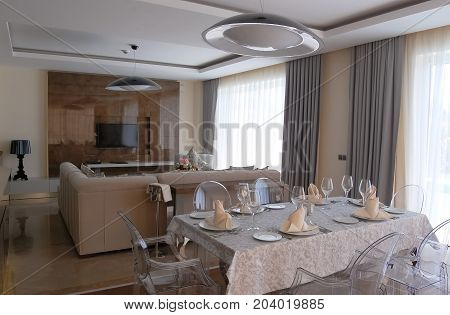Belek Turkey - June 01 2015: Interior of dining room in Bellis Deluxe hotel in Turkey.