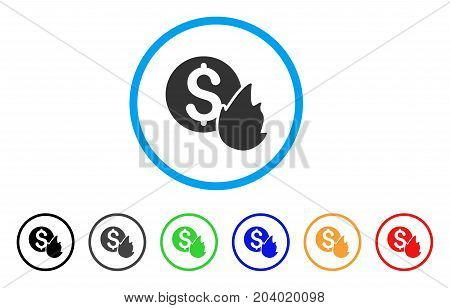 Burn Money icon. Vector illustration style is a flat iconic burn money gray rounded symbol inside light blue circle with black, gray, green, blue, red, orange color additional versions.