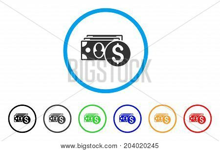 Cash icon. Vector illustration style is a flat iconic cash grey rounded symbol inside light blue circle with black, gray, green, blue, red, orange color versions.