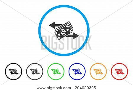 Dollar Banknotes Payments icon. Vector illustration style is a flat iconic dollar banknotes payments grey rounded symbol inside light blue circle with black, gray, green, blue, red,