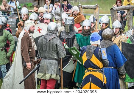 Moscow,russia-june 06,2016: Warriors In Ancient Costumes Prepare For Battle