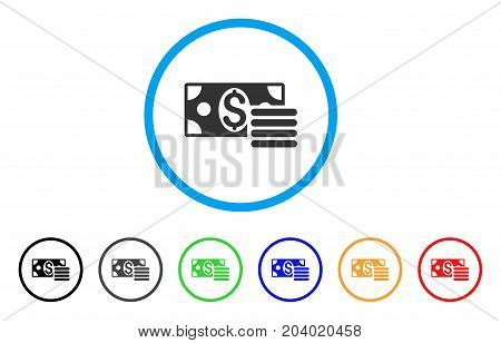 Dollar Cash icon. Vector illustration style is a flat iconic dollar cash grey rounded symbol inside light blue circle with black, gray, green, blue, red, orange color additional versions.