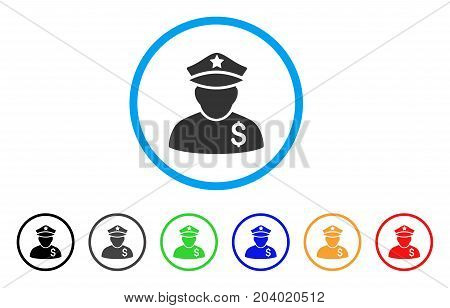 Financial Policeman icon. Vector illustration style is a flat iconic financial policeman grey rounded symbol inside light blue circle with black, gray, green, blue, red, orange color versions.