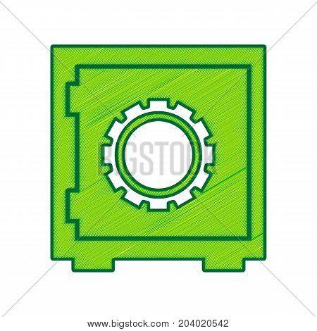 Safe sign illustration, crib, vault, lock box. Vector. Lemon scribble icon on white background. Isolated