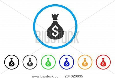 Money Bag icon. Vector illustration style is a flat iconic money bag gray rounded symbol inside light blue circle with black, gray, green, blue, red, orange color versions.