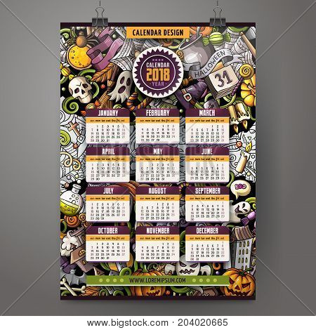 Cartoon colorful hand drawn doodles Halloween 2018 year calendar template. English, Sunday start. Very detailed, with lots of objects illustration. Funny vector artwork.