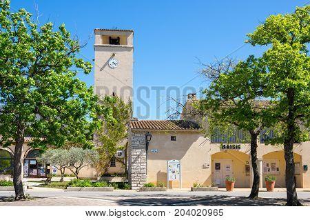LES SALLES-SUR-VERDON FRANCE - APRIL 24 2016: The street of Les Salles-sur-Verdon a commune in the Var department in the Provence-Alpes-Côte d'Azur region in southeastern France