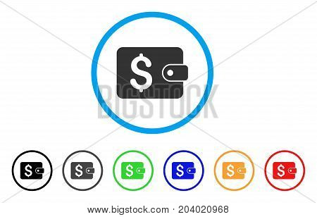 Purse icon. Vector illustration style is a flat iconic purse grey rounded symbol inside light blue circle with black, gray, green, blue, red, orange color versions.