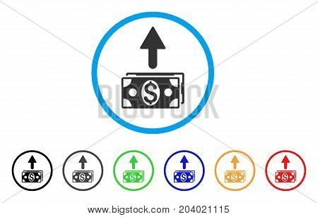 Send Banknotes icon. Vector illustration style is a flat iconic send banknotes grey rounded symbol inside light blue circle with black, gray, green, blue, red, orange color additional versions.
