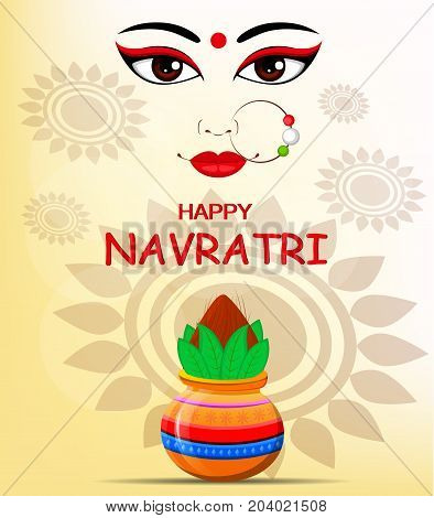Happy Navratri vector illustration. Contour of Maa Durga Face and pot with coconut on abstract background for Hindu Festival.