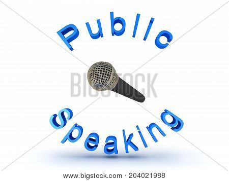 3D illustration of microphone and public speaking sign. Isolated on white.