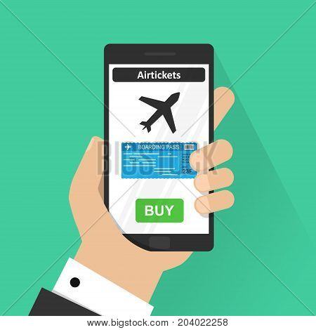 Flat design vector illustration concepts of online airplane ticket. Hand holding mobile smart phone with online buy app. Vector modern flat creative info graphics design