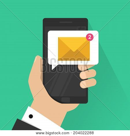 New email notification on mobile phone vector illustration, smartphone screen with new unread e-mail message and read mail envelope icons, inbox concept, vector illustration