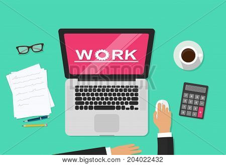 Person working on computer analyzing abstract graph statistic vector illustration, concept of freelancer hands on workplace and analytics work on laptop screen top view, business vector illustration