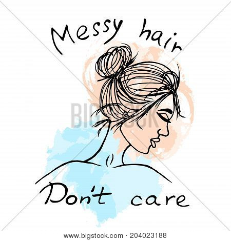 Girl with messy bun vector sketch watercolor paints swatches illustration