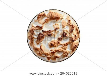 High angel view of homemade banana pudding with Meringue made from scratch isolated over a white background. Clipping path included.