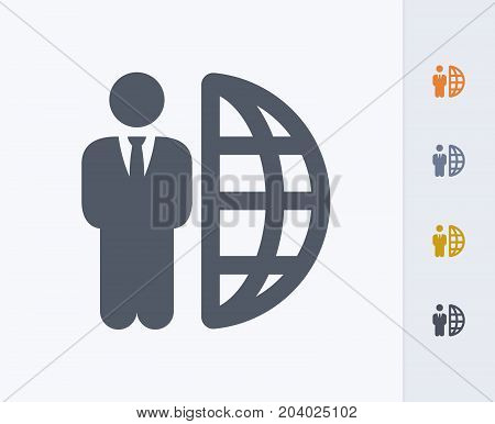 Businessman & Half Globe - Carbon Icons. A professional, pixel-perfect icon designed on a 32x32 pixel grid and redesigned on a 16x16 pixel grid for very small sizes.