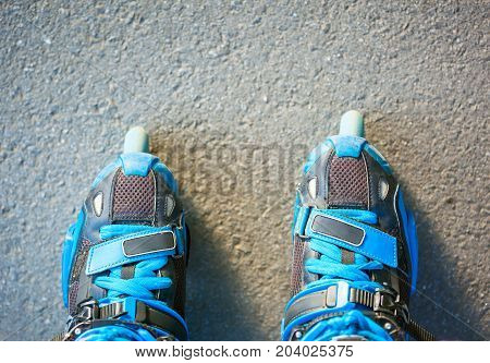 Blue Inline Roller Skates - First Person View.